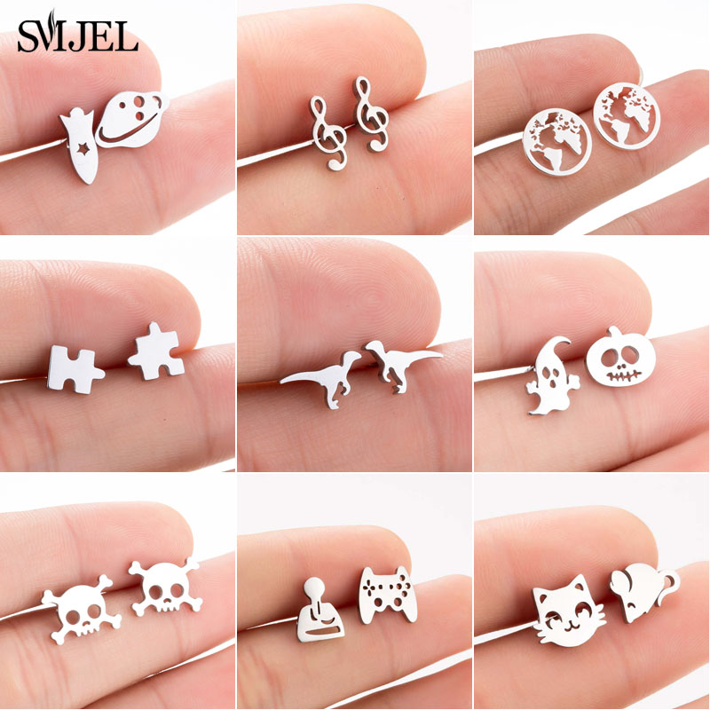 SMJEL Multiple Stainless Steel Stud Earrings for Women Girls Fashion Minimalist Skull Ghost Music Earrings Jewelry Punk Gifts(China)
