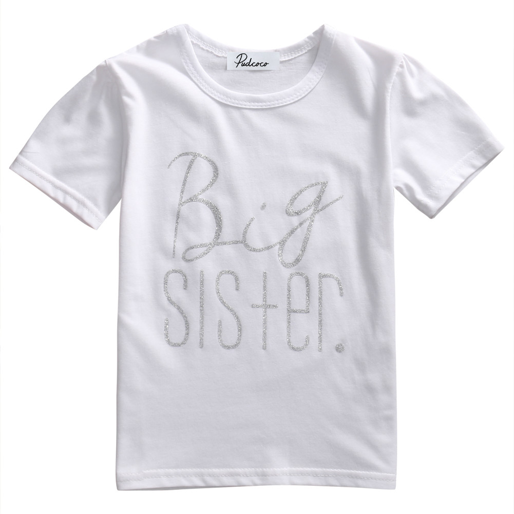 Hot Infant Baby Kids Little Brother Rompers Big Sister T-shirt Costume Family Matching Outfits Short Sleeve Letters Print Tops