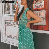 e3c407600a1 BeAvant Винтаж в горошек пляжное летнее платье женские рюшами без рукавов  Короткое платье Повседневная Зеленая кнопка