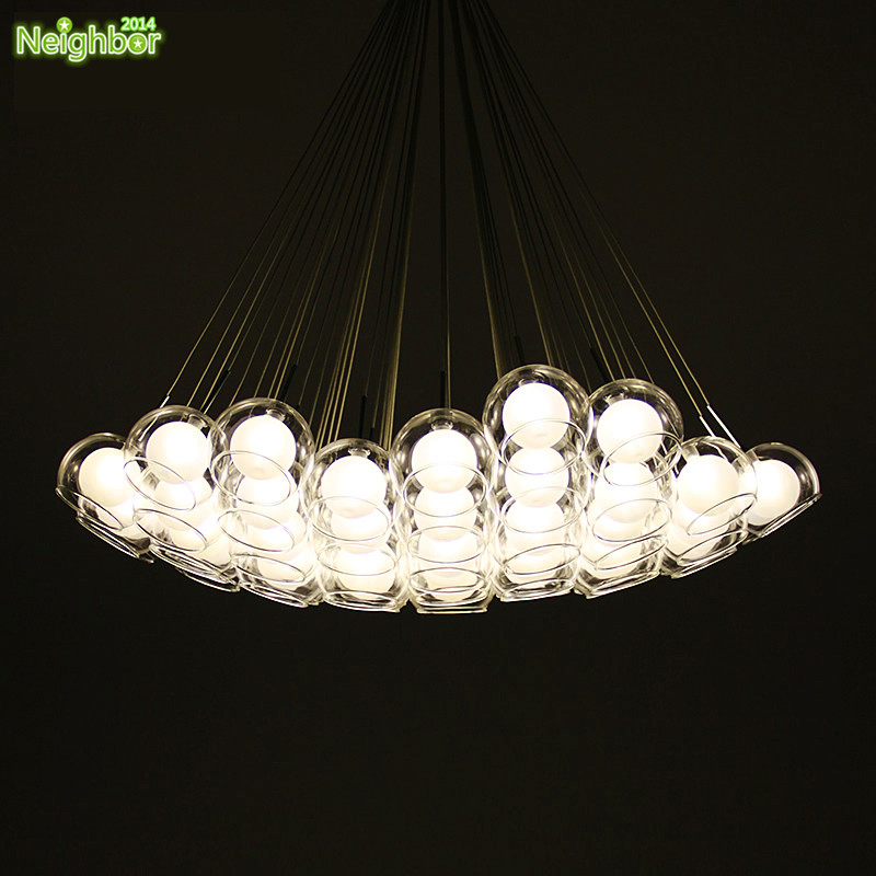 Creative Many Heads Clear Glass Pendant Light Living Room Bedroom Lamp Aisle Bubble Ball Pendant Lamps Restaurant Lighting
