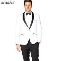 men slim fashion suit white 3 pieces groom tuxedo for man classic suits 2019 b