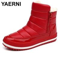 YAERNI Women Boots 2017 Warm Winter Boots Women Ankle Botas Cotton Waterproof Winter Shoes
