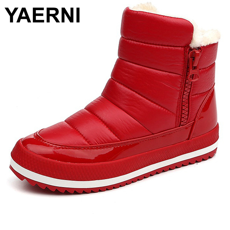 YAERNI Warm Boots Women Ankle Botas Waterproof Winter Shoes