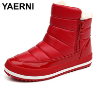 YAERNI Women Boots 2017 Warm Winter Boots Women Ankle Botas Cotton Waterproof Winter Shoes