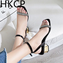 HKCP Fashion The new 2019 summer line of one-lettered pumps with buckles and rhinestones that go a sexy cropped top C239