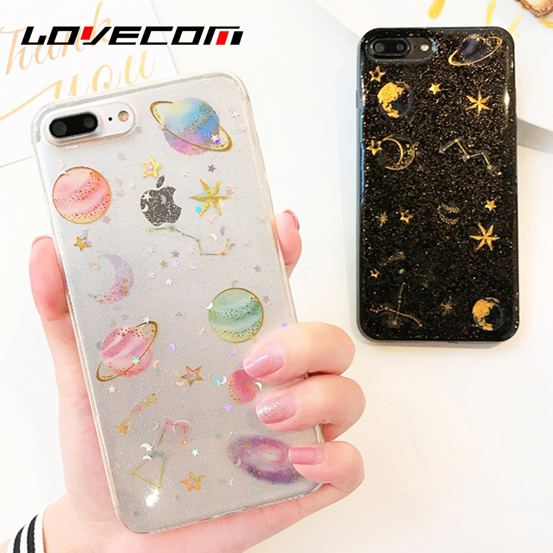 Galleria fotografica LOVECOM For iPhone 6 6S 7 8 Plus X Case Glitter Powder Universe Moon Star Planet Soft TPU Mobile Phone Cases Back Cover Coque