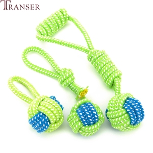 Transer Pet Supply Dog Toys Dogs Chew Teeth Clean Outdoor Traning Fun Playing Green Rope Ball Toy For Large Small Dog Cat 71229(China)