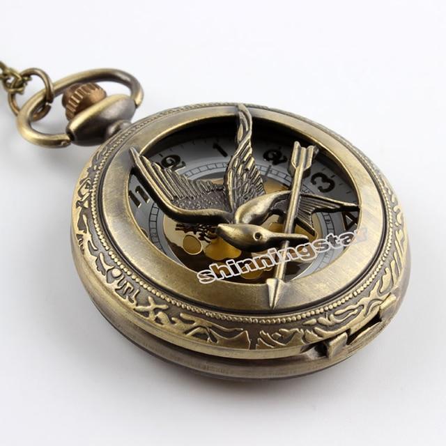 Russia the Hunger Game Retro Hollow Skeleton Pocket watch Bronze Bird Clock Necklace Pendant Gift For Men Women
