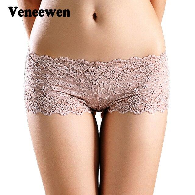 Mulheres Boxer Shorts de Cuecas sensuais Calcinha de Renda Boyshort  Calcinhas Cheia Do Laço Transparente Pugilistas 7d9af6b5be8