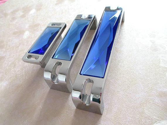 """1.25 """" 3.75 """" 5 """" 6.3 """" de vidro Dresser gaveta Chrome azul de cristal de prata armário gabinete Handle Pull maçanetas 32 96 128 160 mm"""