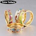 O Novo Aço Inoxidável Anéis Jóias Geométrico Colorido Anéis de Anéis de Esmalte para As Mulheres Melhores Amigos Presentes de Natal Dourada