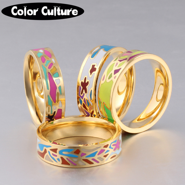 The New Stainless Steel Rings Jewelry Colorful Geometric Enamel Rings for Women