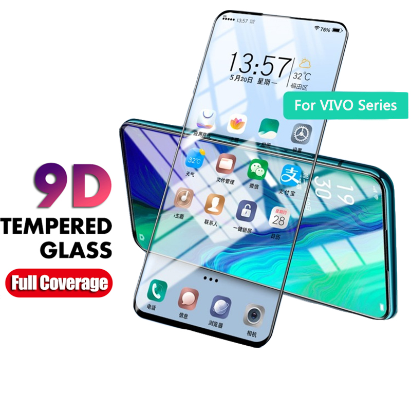 9D Full Cover Tempered Glass For VIVO V15 V11 V9 Pro Glass Screen Protector Protective Film For Vivo X23 Z3 Z3i V11i Y97 Y85 Y83