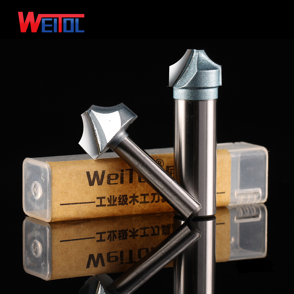 Weitol 1/2 or 1/4 inch open carving tools wood groove cutter tungsten carbide end mill CNC router bits 10pcs box 1 8 inch 0 8 3 17mm pcb engraving cutter rotary cnc end mill milling cuter drill bits