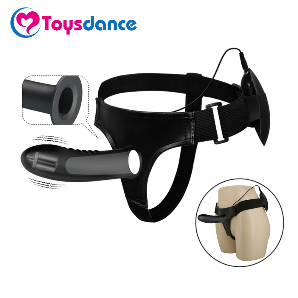 Toysdance Silicone Lesbian <font><b>Strap</b></font> <font><b>On</b></font> Harness Vibrator Dildo <font><b>For</b></font> Couples Hollow Design <font><b>Men</b></font> Wearable Vibrating Penis <font><b>Adult</b></font> <font><b>Sex</b></font> <font><b>Toys</b></font> image