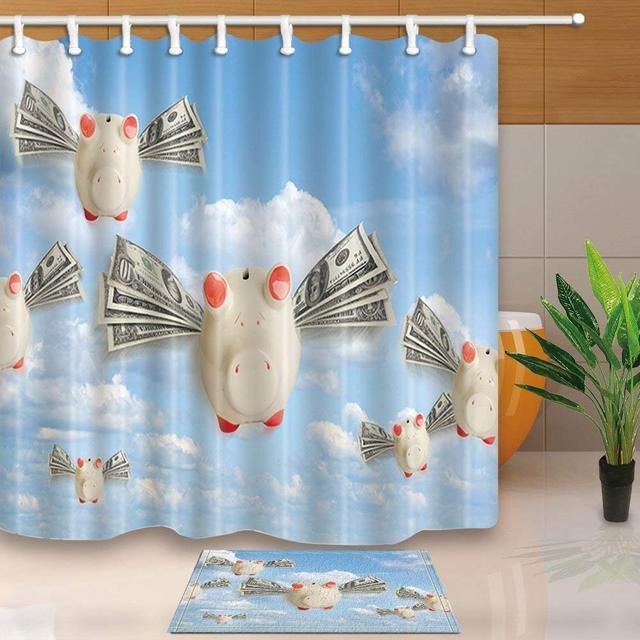 Kids Decor Cartoon Funny Pig Flying In The Sky 69X70in Mildew Resistant Polyester Fabric Shower