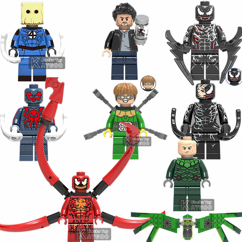 Venom Legoingly Marvel Superheroes DC Iron Man Spiderman Deadpool 2 Domino Cable Bricks Building Blocks Toy for Children Gifts