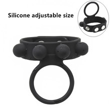 New Adjustable size large silicone strong erection penis sleeve cock ring ball stretcher male delay ejaculation extender Sex Toy