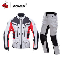 DUHAN Men's Off- Road Jacket Waterproof Motorcycle racing Jackets and pants With Elbow Shoulder Back Protector CE Motorbike