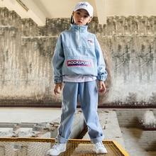 Hip Hop traje niñas Denim camisa Tops pantalones niños trajes de danza Jazz 8ea2c61e95d