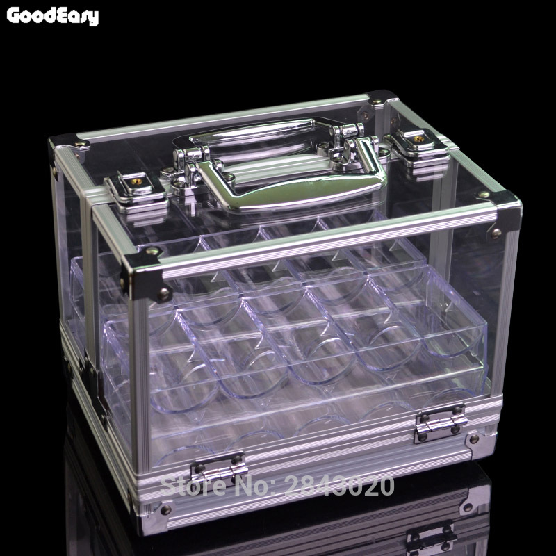 High Quality 600PCS Portable Poker Chips Suitcase Large Cases With Password Acrylic Transparent Double Open Coin