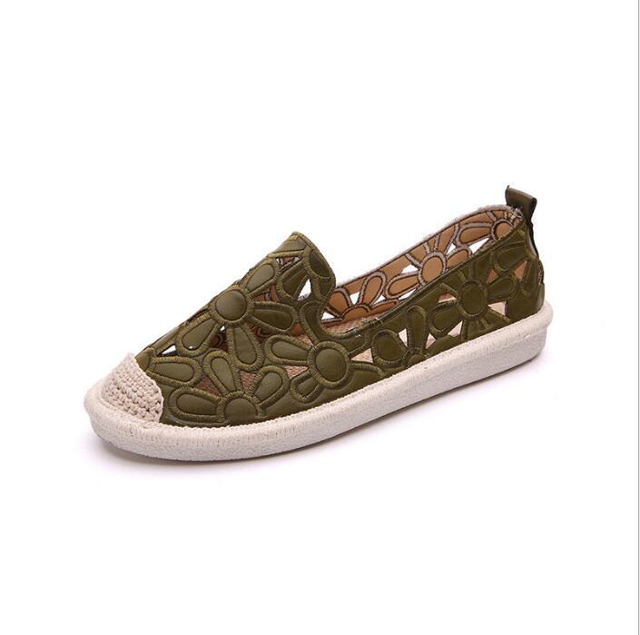 Effgt Femmes Creux Appartements vert Cut Paille Broderie Chaussures blanc Out Casual Nouvelles Pêcheur Printemps B904 Beige qF4rngRUq