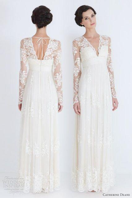 Modest v neck straight sheer lace long sleeves wedding dress for ...