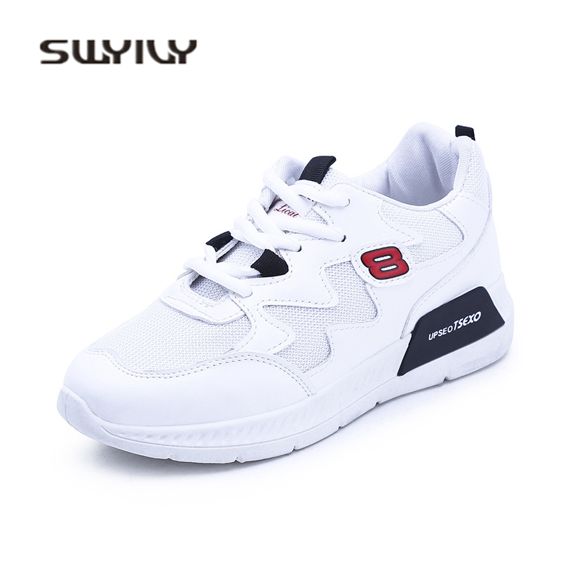 SWYIVY Casual Shoes Woman Sneakers Mesh Breathable Spring 2018 White Shoes Student Flat Comfortable Female Sneakers Casual Shoes swyivy women sneakers light weight 2018 41 woman casual shoes slip on lazy shoes comfortable candy color breathable net shoe
