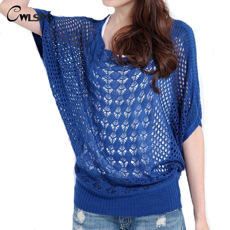 2017 Spring Summer Women Hollow Out Sweater Femme Casual Loose Batwing ...
