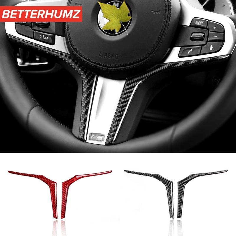 Автомобильные аксессуары, украшение интерьера, наклейки на рулевое колесо из углеродного волокна, автомобильный Стайлинг для BMW G01 G02 G30 X3 X4 5 ...