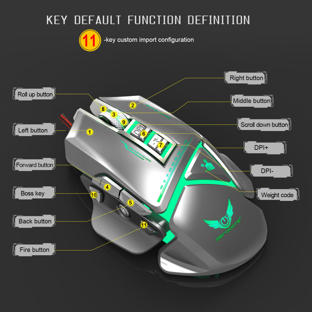 Image 5 - ZERODATE 11 programmable button USB wired optical mouse 3200DPI color backlight mechanical macro definition game mouse game PC-in Mice from Computer & Office