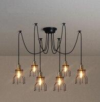 Modern Nordic Retro Edison Bulb Light Chandelier Vintage Loft Antique Adjustable DIY E27 Art Spider Ceiling Lamp Fixture