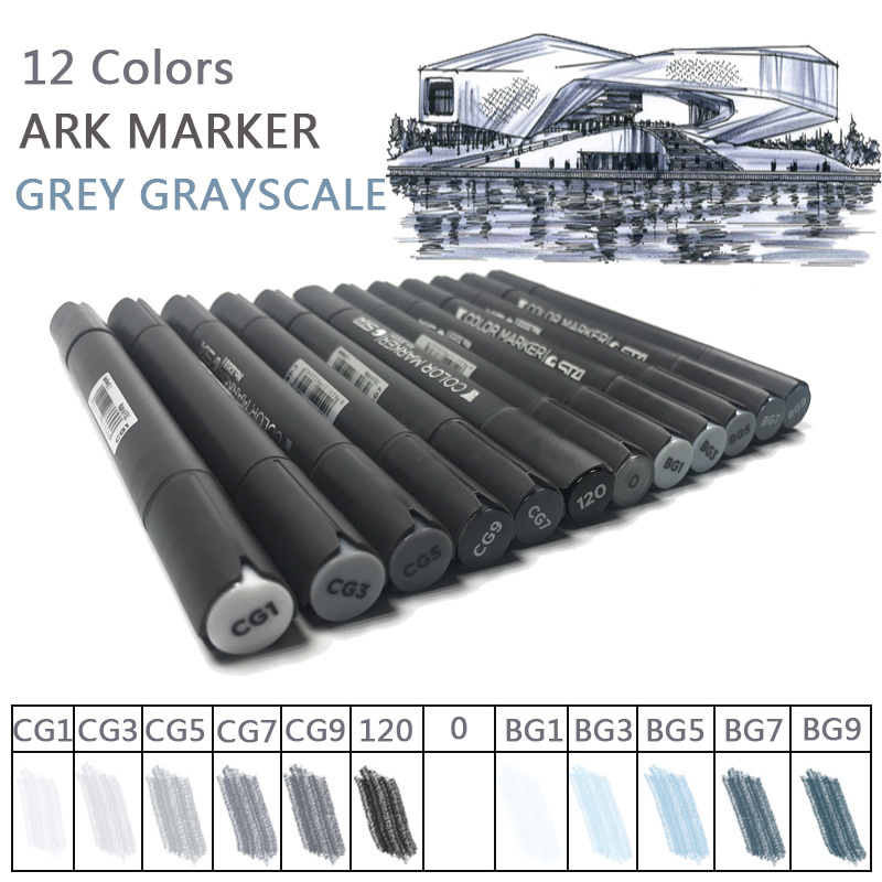 STA 12 Cool Grey Colors Marker Pen Grayscale Dual Head Markes