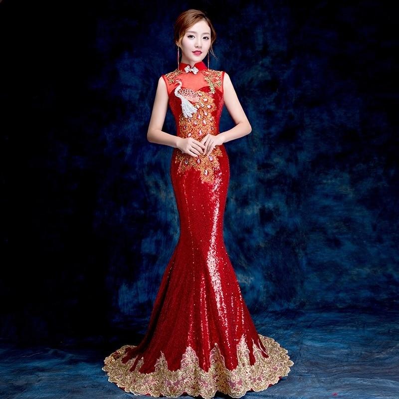2018 Dos Nu Cheongsam Sexy Qipao Femmes Rétro Robe de Chambre Longue Traditionnel Chinois Robes de Soirée Robe Rouge Vestito Da Sérums