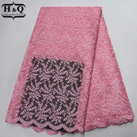 Baby Pink African Lace Fabric High Quality Embroider With Stone French Tulle Lace Fabrics Nigeria Guipure Lace For Party Dress