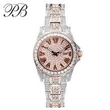 PB Marca de Lujo Superior de Cristal Austriaco Mujeres Señoras Reloj de Cuarzo de Diamante Vestido de Relojes de Acero Inoxidable Reloj montre femme