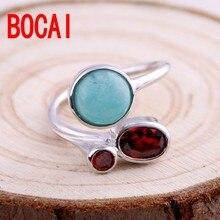 S925 sterling silver ring, women's day, Korean version, fashion mosaic, stone, garnet, rings, silver jewelry, sweet