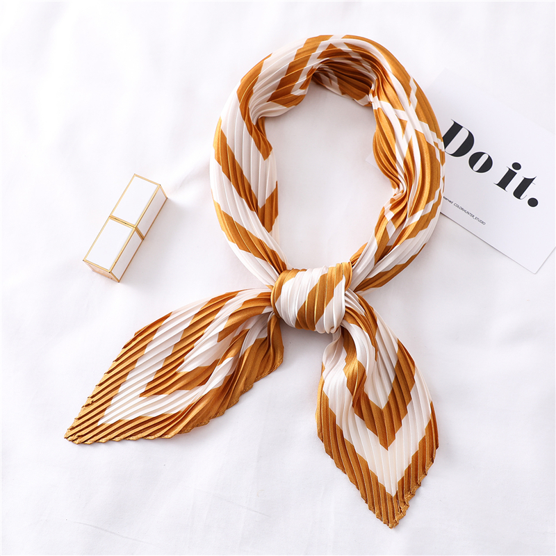 Square Scarf Hair-Band Crinkle Silk Pleated Designer Women Ladies Print Fashion For Neck-Scarves