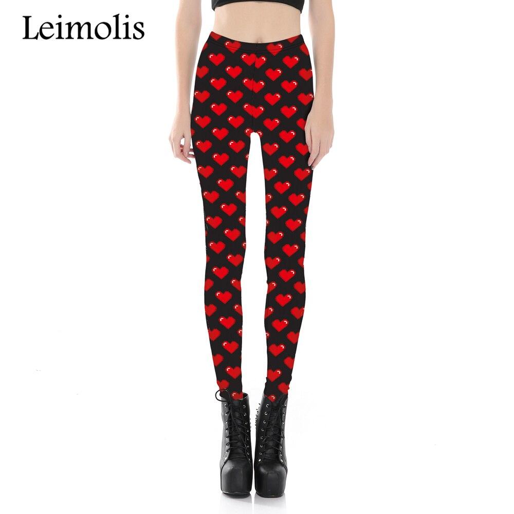 Leimolis 3D Printed Fitness Push Up Workout Leggings Women Red Sweet Heart Plus Size High Waist Punk Rock Pants