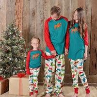 1 Sets Family Christmas Pajamas 2017 Elk Family Matching Outfits Fashion Patchwork Long Sleeve Mama Mom