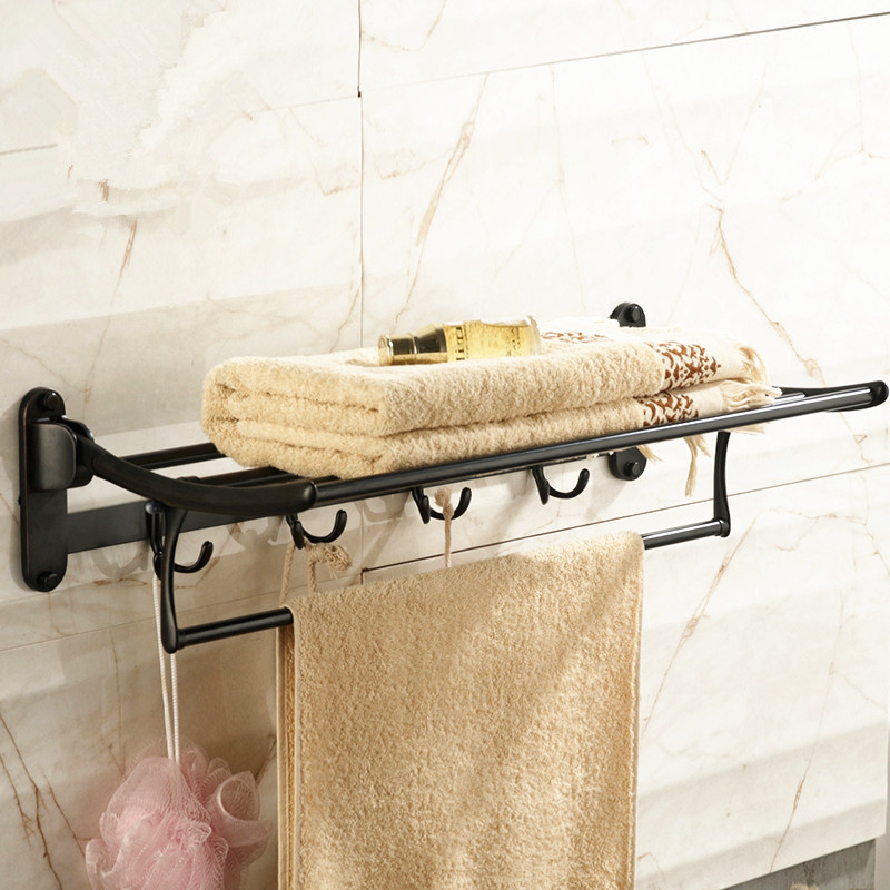 AUSWIND black antique 60cm Towel rack with towel bar and hooks 304 stainless steel wall mount bathroom hardware 78n auswind antique 304 stainless steel square base black towel ring wall mount towel bar vintage bathroom hardware set