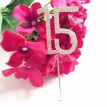 Девичьи пышные возраст 15 лет празднование Дня Рождения вечерние торт форма для кекса Топпер горный хрусталь номер 15 украшения