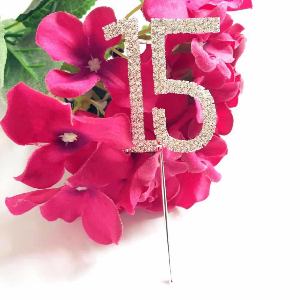 Girls Quinceanera age 15th Birthday celebration party Cake Cupcake Top Topper Rhinestone Number 15 decoration