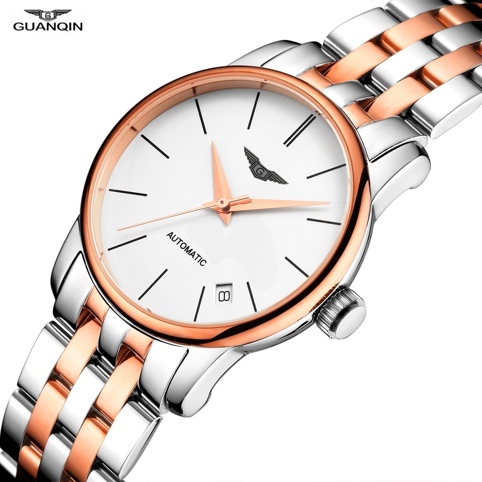 GUANQIN Watch Women Automatic Mechanical Watch Japan MIYOTA Movement 8200 Sapphire Stainless Steel Date Waterproof Female Clock guanqin gj16056 watch women luxury brand japan miyota mechanical watch leather automatic ultra thin watch female watch couple