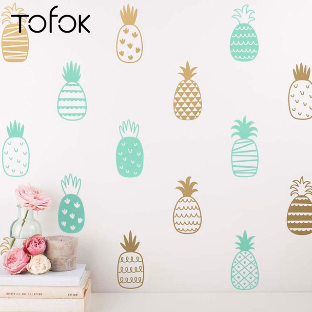 Tofok 20PCS DIY Pineapple Wall Stickers Living Room Child Bedroom Decotation Art Vinyl Decals Cute Nursery Wall Mural Home Decor