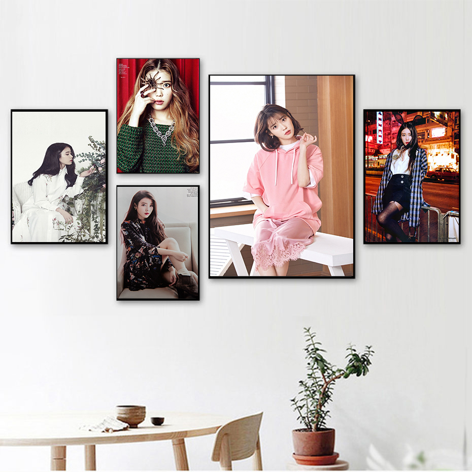 IU Lee Ji Eun South Korea Beauty Model White Kraft Paper Posters Wall Decoration Poster Home Decoration 42*30cm