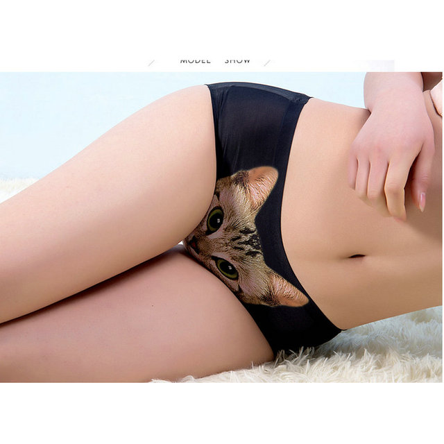 1fa668766389 1 Pcs Panties for Women Pussy Cat Panties Mid Waist Safety Briefs Cat  Underwear Anti Emptied