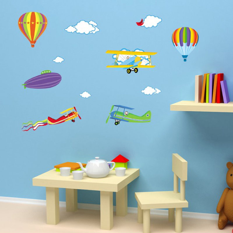 Hot air balloon wall stickers for kids rooms cartoon airplane nursery wall decals home decor bedroom wall pictures image