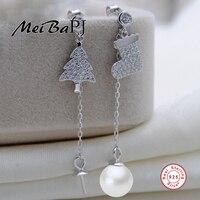 MeiBaPJ 7 8mm Natural Freshwater Pearl Christmas Tree Christmas Stocking Earrrings For Women 925 Sterling