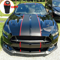 2015 2018 Car Wrap Stickers for Ford Mustang 2 color 10 Twin Rally stripes Stripe Graphic Decals Fashion Hood Racing Vinyl Wrap